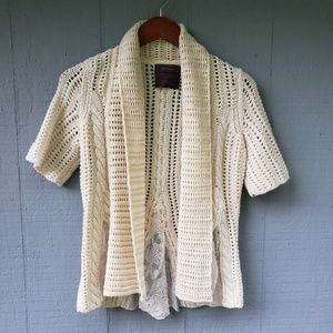 Guinevere Wool Blend Short Sleeve Cardigan Lace Sm